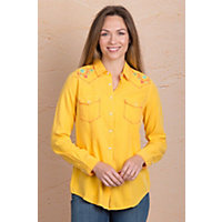 Ryan Michael Whipstitch Embroidered Silk Cotton-Blend Shirt GOLDENROD Size XLARGE 12-14 $159.00 AT vintagedancer.com