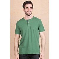 Jeremiah Abe Cotton Henley Shirt CLOVER Size Medium 40 42
