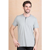 Jeremiah Abe Cotton Henley Shirt LIMESTONE Size Medium 40 42