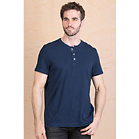 Jeremiah Abe Cotton Henley Shirt NAVY Size Large 44 46