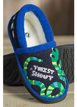Children's Acorn Appliqué Moccasin Slippers
