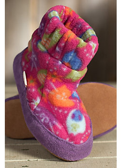 Children's Acorn Kadabra Fleece and Suede Leather Slippers