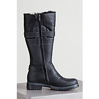 Women's Overland Adelyn Wool-Lined Leather Boots with Shearling Trim, BLACK OIL 3