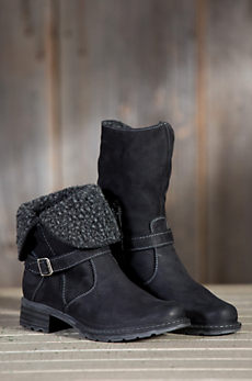 Women's Overland Lana Fold-Down Leather Boots with Shearling Cuff