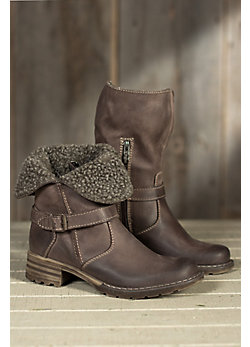 Women's Lana Fold-Down Leather Boots with Shearling Cuff