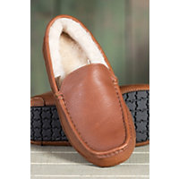Men's Aiden Sheepskin Slippers, Cognac Leather, Size 10 Western & Country