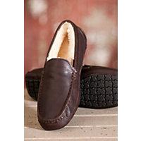 Men's Aiden Sheepskin Slippers, Walnut Leather, Size 13 Western & Country