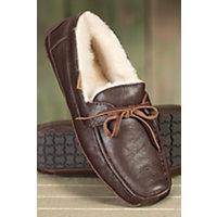 Men's Mason Moccasin Sheepskin Slippers, Walnut Leather, Size 12 Western & Country