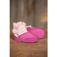2 Tone Sheepskin Baby Slipper Booties PINK PINK Size XL1824