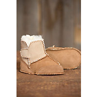 2 Tone Sheepskin Baby Slipper Booties TAN SAND Size L12 18