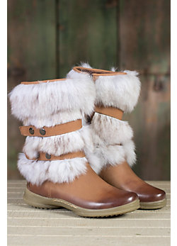 Women's Genevra Leather Boots with Rabbit Fur Trim
