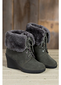 Women's Mona Lace-up Sheepskin Wedge Boots