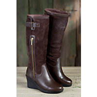 Women's Isabella Tall Wedge Leather Boots With Shearling Lining, Brown, Size Eu37 Western & Country