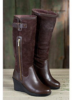 Women's Isabella Tall Wedge Leather Boots with Shearling Lining