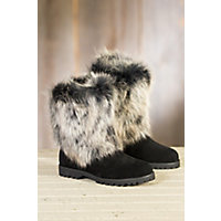 Women's Overland Neve Shearling Sheepskin Boots with Fox Fur Trim, BLACK/INDIGO