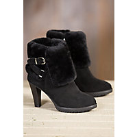 Women's Overland Amber Shearling-Lined Suede Boots, BLACK