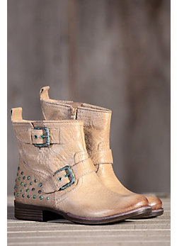 Women's Naya Agatha Leather Boots with Buckle and Studs