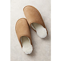 Men's Noah Shearling-Lined Leather Slippers, Chestnut, Size 11 Western & Country