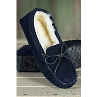 Women's Taylor Shearling-Lined Leather Moccasin Slippers, Blue, Size 6 Western & Country
