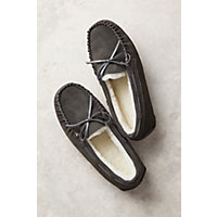 Women's Taylor Shearling-Lined Leather Moccasin Slippers, Grey, Size 9 Western & Country