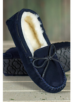 Women's Taylor Shearling-Lined Leather Moccasin Slippers