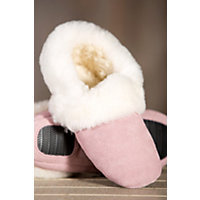 Women's Zoe Shearling-Lined Leather Slippers, Pink, Size 7 Western & Country
