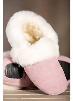 Women's Zoe Shearling-Lined Leather Slippers