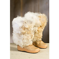 Women's Stratton Wool-Lined Coyote Fur and Calfskin Boots, NATURAL BEIGE