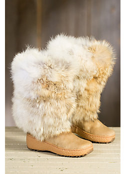 Women's Calfskin and Coyote Fur Boots