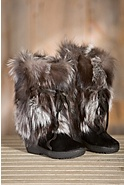 Women's Vera Calfskin and Silver Fox Fur Boots