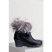 Women's Katy Shearling-Lined Calfskin Leather Boots with Fox Fur Trim, BLACK/SILVER