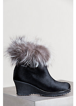 Women's Katy Shearling-Lined Leather Boots with Fox Fur Trim