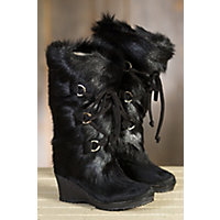 Women's Julia Shearling-Lined Goatskin and Cowhide Boots, BLACK