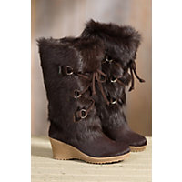 Women's Julia Shearling-Lined Goatskin and Cowhide Boots, BROWN