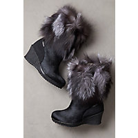 Women's Angelina Shearling-Lined Calfskin Boots with Fox Fur Trim, BLACK/SILVER