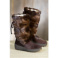 Women's Visone Shearling-Lined Mink Fur and Calfskin Boots, BROWN