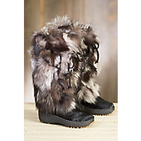 Women's Volpe Plus Shearling-Lined Fox Fur and Calfskin Boots, SILVER FOX