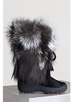 Women's Gigi Shearling-Lined Fox Fur and Calfskin Leather Boots