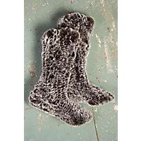 Women's Knitted Rabbit Fur Slipper Socks, BROWN SNOWTOP, Size S