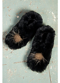 Women's Knitted Rabbit Fur Slippers with Raccoon Fur Pom