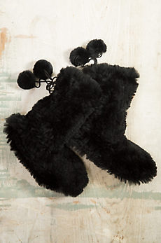 Knitted Rabbit Fur Slippers with Fox Pom Ties