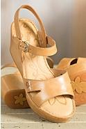 Women's Born Du Jour Leather Wedge Sandals