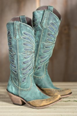 Women's Liberty Black Vintage Inlay Leather Cowboy Boots