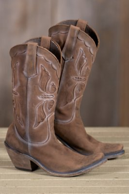Women's Liberty Black Butterfly Distressed Leather Cowboy Boots