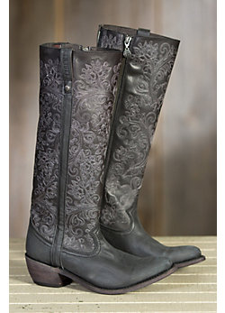 Women's Liberty Black Vintage Café Leather Boots