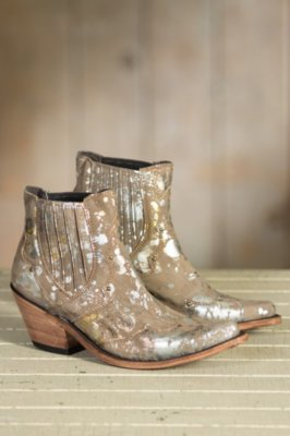 Women's Liberty Black Distressed Metallic Leather Boots