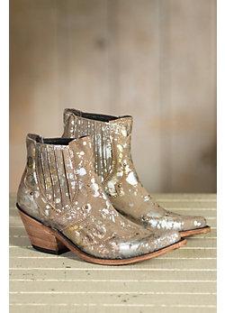 Women's Liberty Black Distressed Metallic Leather Boots