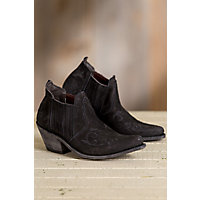 Women's Liberty Black Suede Ankle Boots with Embroidery Detail, GREASE BLACK