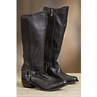 Women's Liberty Black Rugged Leather Cowboy Boots, DELANO NEGRO DISTRESSED