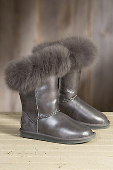 Women's Australia Luxe Collective Foxy Metallic Shearling Sheepskin Boots with Fox Fur Trim